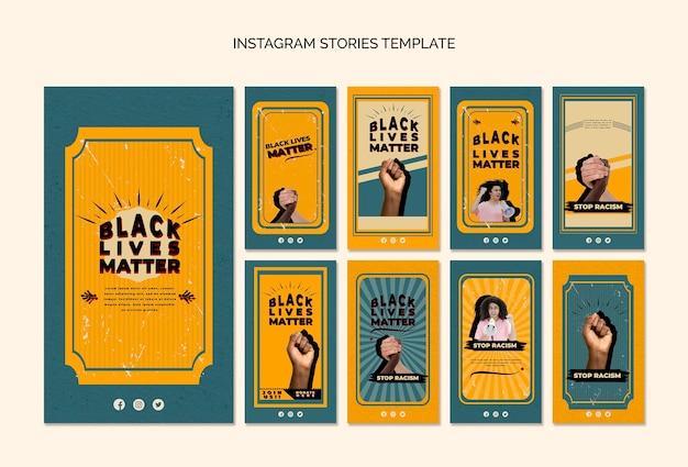 Instagram stories pack für schwarze leben sind wichtig Kostenlosen PSD
