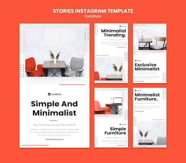 Instagram-storysammlung für minimalistische möbeldesigns Premium PSD