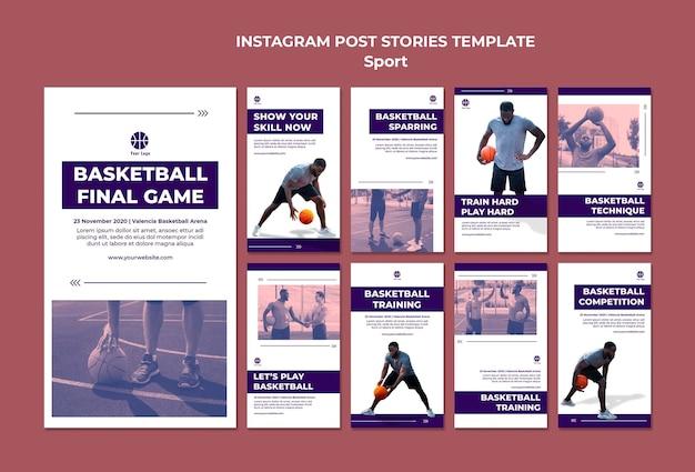 Instagram storysammlung zum basketballspielen Premium PSD