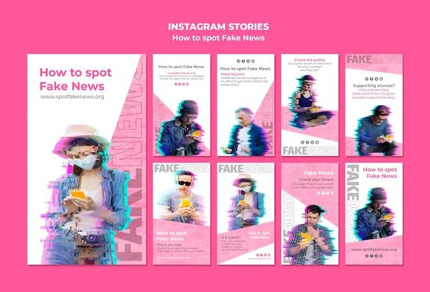 Instagram-storysammlung zum erkennen gefälschter nachrichten Kostenlosen PSD