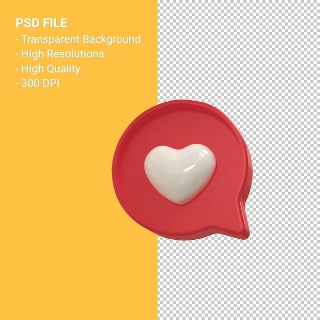 Instagram wie 3d-symbol oder facebook liebe emoji benachrichtigungen 3d-rendering isoliert Premium PSD