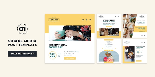 Internationale kaffeetag social media post collection vorlage Premium PSD