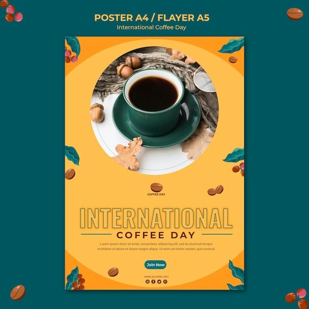 Internationaler flyer zum kaffeetag Kostenlosen PSD