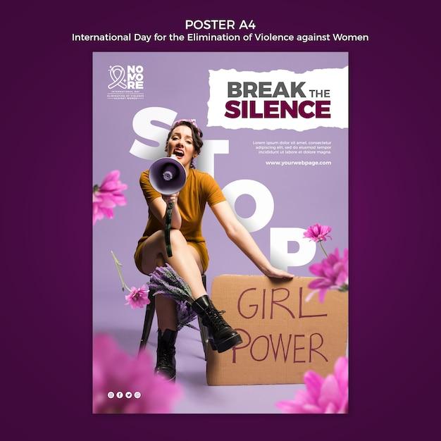 Internationaler tag zur beseitigung von gewalt gegen frauen plakatvorlage Premium PSD