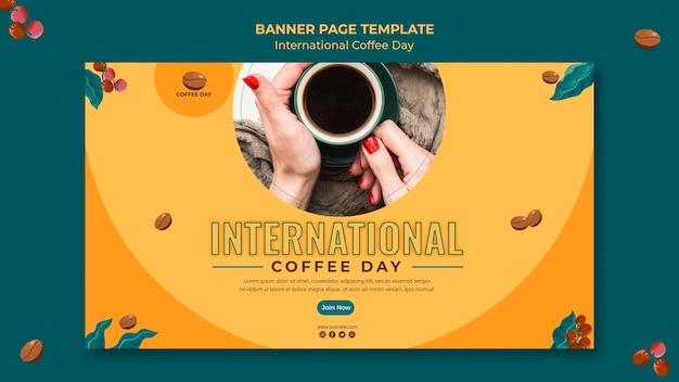 Internationales kaffeetag-bannerdesign Kostenlosen PSD