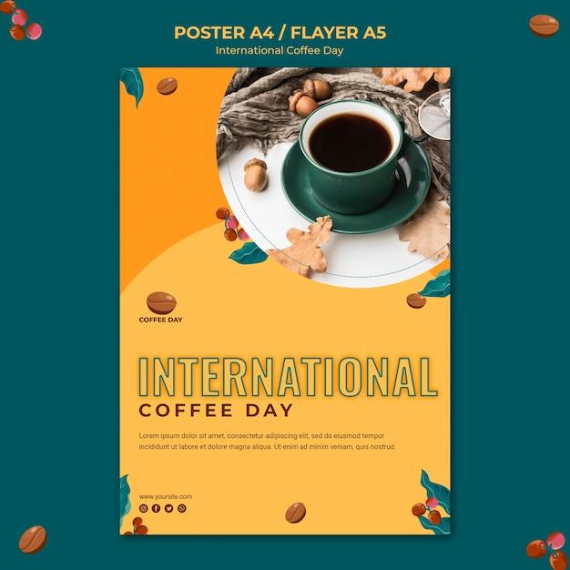 Internationales kaffeetag-flyer-konzept Kostenlosen PSD