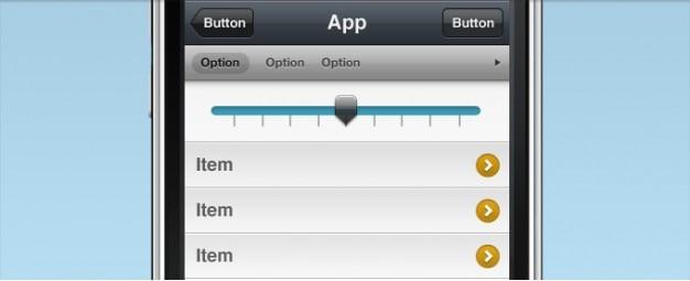 Iphone-interface mit slider selector Kostenlosen PSD