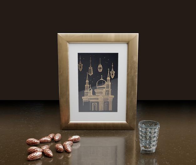 Islamische dekoration des neuen jahres mit feld und getrockneten daten Premium PSD