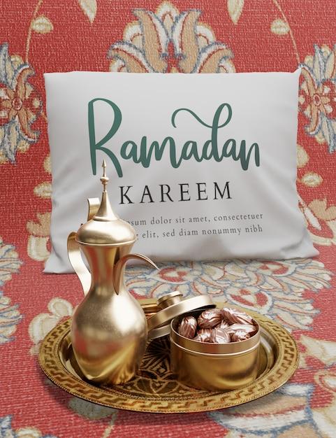 Islamische dekoration des neuen jahres mit teekanne und getrockneten daten Kostenlosen PSD