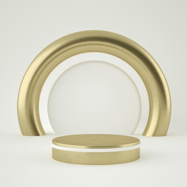 Islamisches sauberes weißgoldproduktsockel, goldrahmen, gedenktafel, abstraktes minimalkonzept, leerzeichen, sauberes design, luxus. 3d-rendering Premium PSD