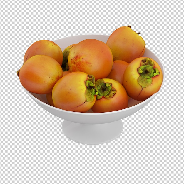 Isometrische früchte auf platte Premium PSD