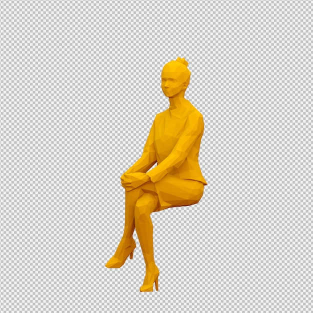 Isometrische weibliche 3d übertragen Premium PSD