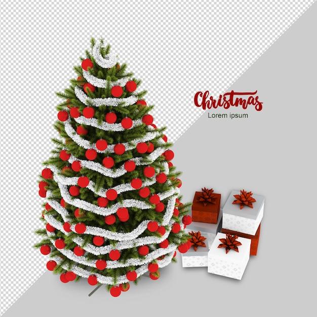 Isometrische weihnachtsbaum- und geschenkwiedergabe Premium PSD