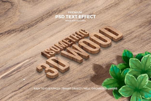 Isometrischer hölzerner effekt des text-3d Premium PSD