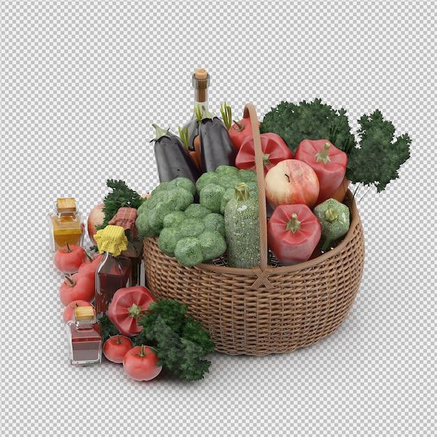 Isometrischer korb mit gemüse und früchten im weidenkorb Premium PSD