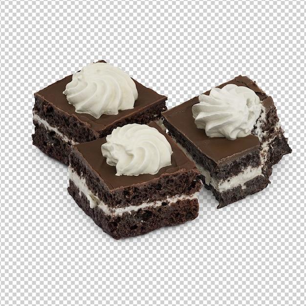 Isometrischer kuchen auf platte Premium PSD