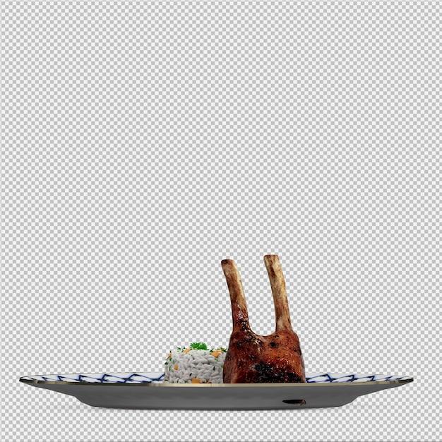 Isometrisches lebensmittel auf platte 3d übertragen Premium PSD