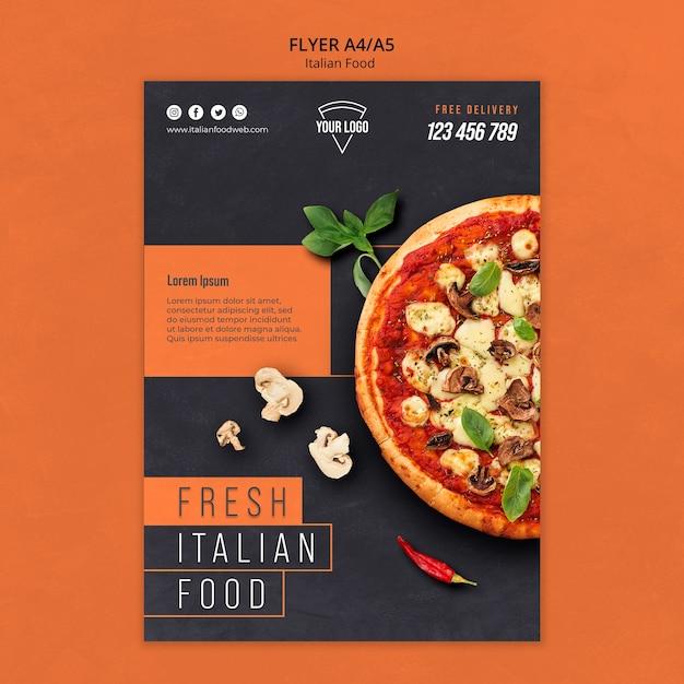 Italienischer essensflieger Kostenlosen PSD