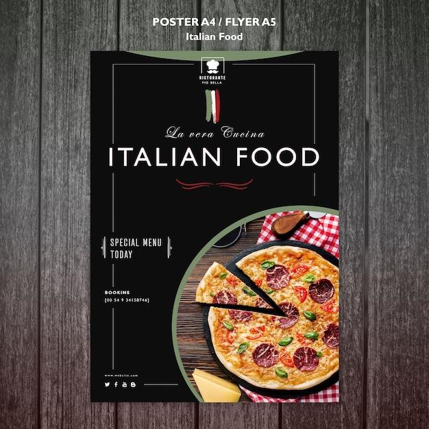 Italienisches lebensmittelplakatkonzept Kostenlosen PSD