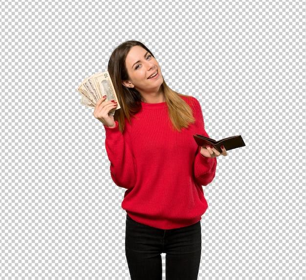 Junge frau mit der roten strickjacke, die eine mappe anhält Premium PSD