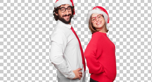 Junge paare, die weihnachtskonzept ausdrücken. paar und hintergrund in verschiedenen schichten Premium PSD