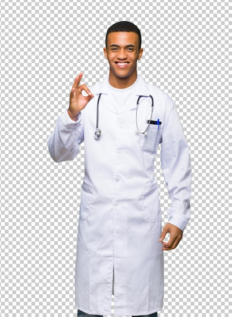 Junger afroamerikanischer manndoktor, der ein okayzeichen mit den fingern zeigt Premium PSD