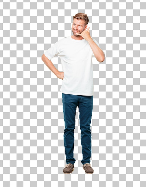 Junger blonder mann mit einem lächeln, überzeugt, stolz, zufrieden und freundlich Premium PSD