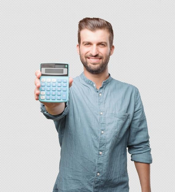 Junger gutaussehender mann mit taschenrechner Premium PSD