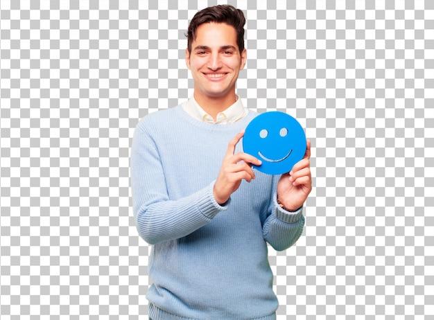 Junger hübscher gebräunter mann mit einem smiley emoticon Premium PSD