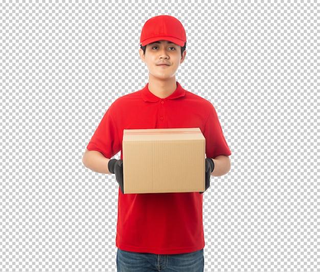 Junger lieferbote, der papierkarton hält Premium PSD