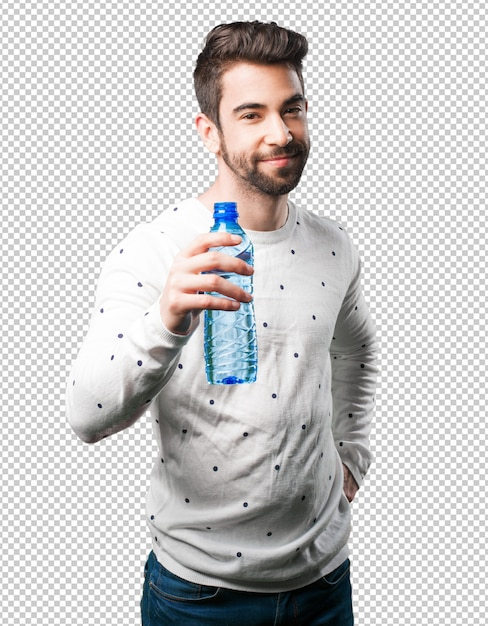 Junger mann, der wasserflasche hält Premium PSD