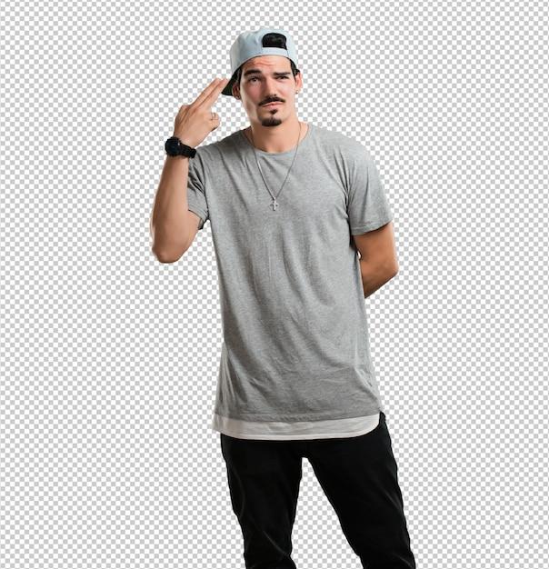 Junger rappermann, der eine selbstmordgeste macht, eine gewehr mit den fingern bildend traurig und erschrocken sich fühlt Premium PSD