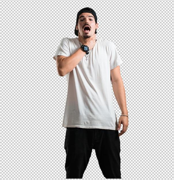 Junger rappermann gesorgt und überwältigt, ängstlicher gefühlsdruck, konzept der qual Premium PSD