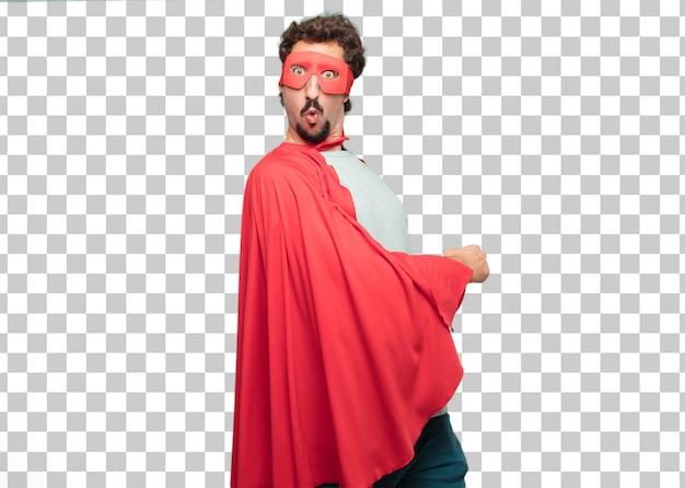 Junger verrückter superheldmann überrascht oder entsetzt ausdruck Premium PSD