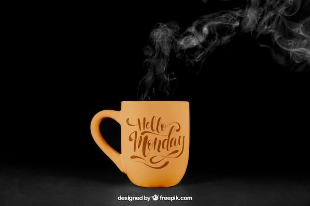 Kaffee-modell mit dampf Kostenlosen PSD