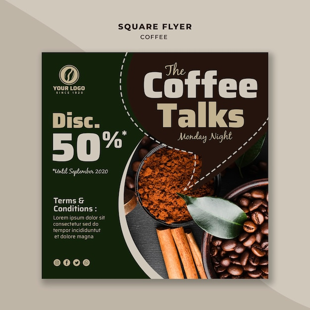 Kaffee spricht quadratischen flyer Kostenlosen PSD