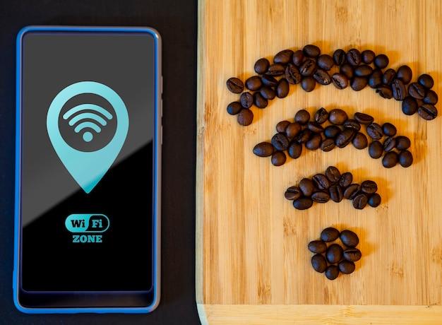 Kaffeebohnen, die das wi-fi-signal nachbilden Kostenlosen PSD