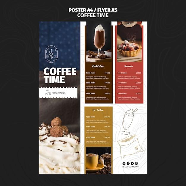 Kaffeezeit restaurant menüvorlage Kostenlosen PSD