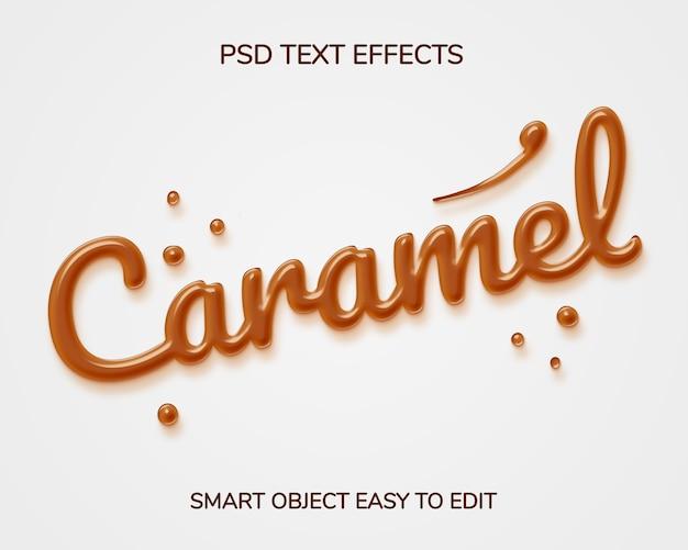 Karamell-textstil-effekt Premium PSD