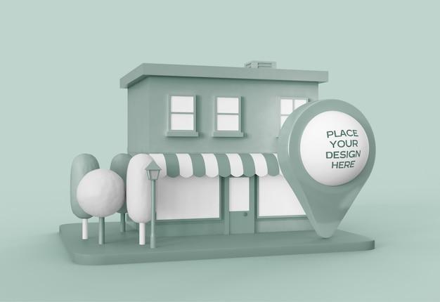 Karikaturstadt mit kartenzeigermodell Kostenlosen PSD