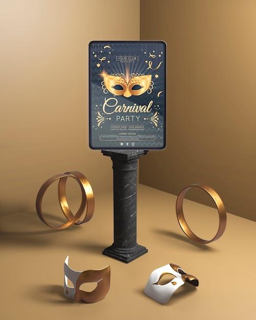 Karnevalspartymodell mit goldenen ringen Kostenlosen PSD