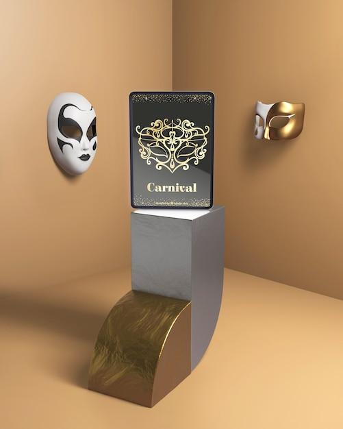 Karnevalspartymodell mit venezianischen masken Kostenlosen PSD