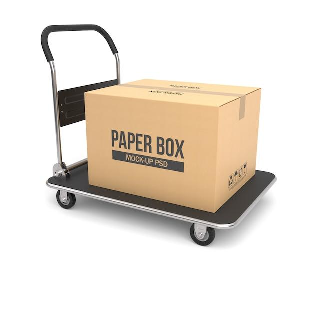 Karton auf einem handwagen Premium PSD