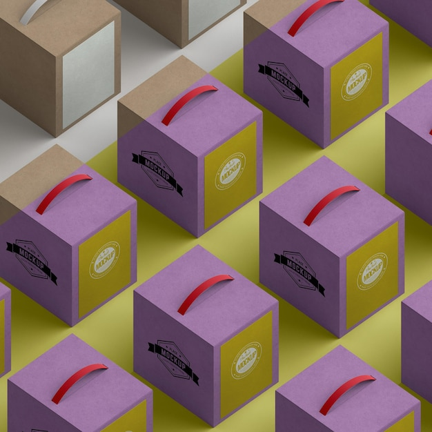 Kartons mit isometrischem design Premium PSD
