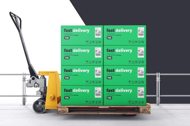Kartonschachteln auf palettenwagenmodell Premium PSD