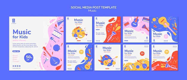 Kinder musikplattform social media post vorlage Kostenlosen PSD