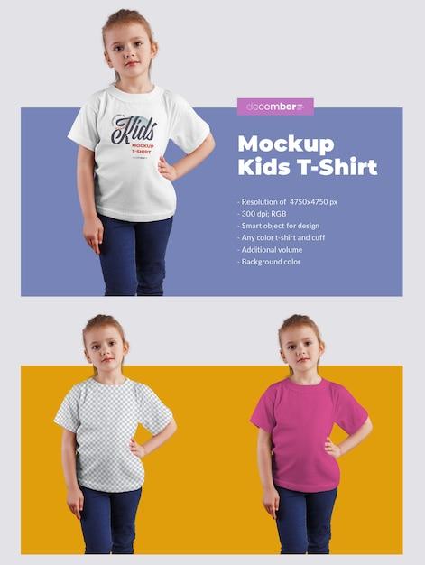 Kinder t-shirt modelle. das design ist einfach beim anpassen des bilddesigns (auf dem t-shirt), der t-shirt-farbe und des farbigen hintergrunds Premium PSD