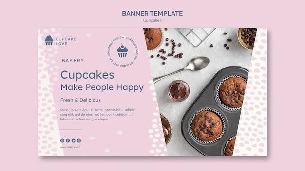 Köstliche cupcakes-bannerschablone mit foto Kostenlosen PSD