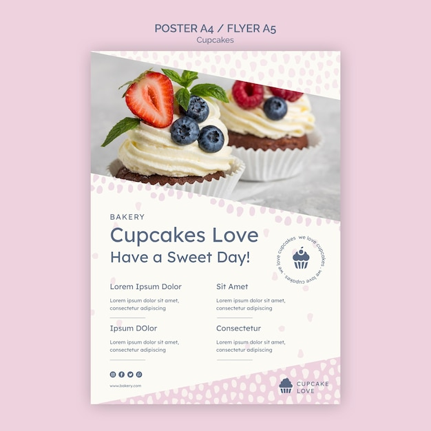 Köstliche cupcakes flyer vorlage mit foto Kostenlosen PSD