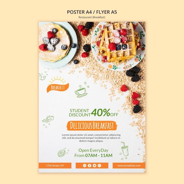Köstliche frühstücksrestaurant plakat vorlage Kostenlosen PSD